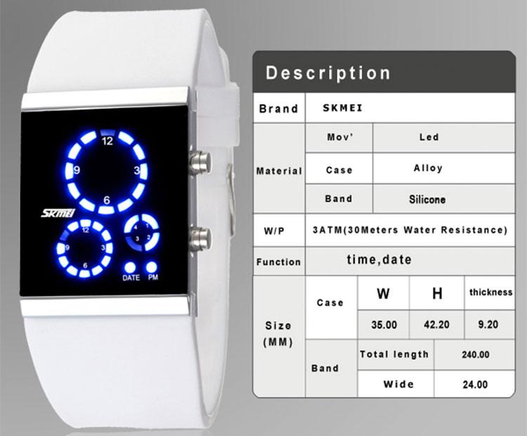 LED наручные часы skmei