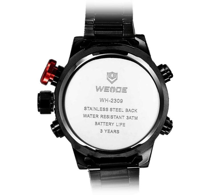 Все качественные параметры часов weide sport watch вместе с логотипом бренда выгравированы на стальной задней крышке.